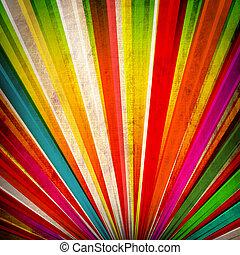多色刷り, グランジ, 太陽光線, 背景