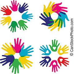 多色刷り, セット, 多様性, 手