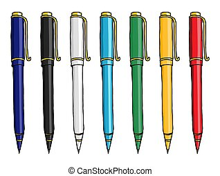 多色刷り, ペン