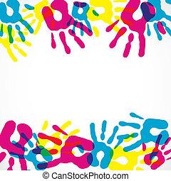 多色刷り, 多様性, 背景, 手