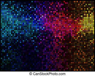 多色刷り, 抽象的, ライト, ディスコ, バックグラウンド。, 広場, ピクセル, モザイク, ベクトル