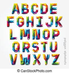 多角形, アルファベット, カラフルである, font.