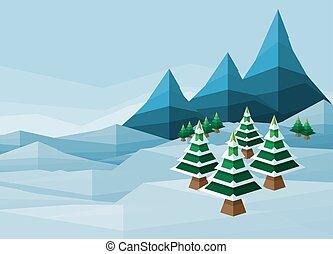 多角形, クリスマス, 冬, 背景, 雪