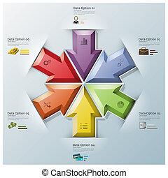 多角形, ビジネス, 現代, 矢, 3, 融合, infographic, 次元