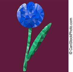 多角形, 青い花, イメージ