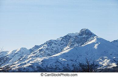 多雪的山, 顶端