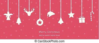 多雪, 問候, 裝飾, 卡片, 懸挂, 聖誕節, 紅色