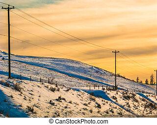 多雪, 山坡, 在中, kamloops, bc