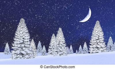 多雪, 樅樹, 以及, 一半月亮, 在, 降雪, 夜晚