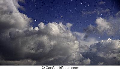 多雲, 星, 夜晚