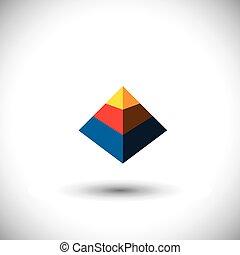 多面体, 概念, 三角形, アイコン, 形, ベクトル, y, 作られた, 3d