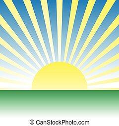 夜明け, ベクトル, 上に, 図画, 日の出, meadow., 緑