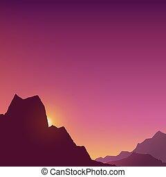 夜明け, 山