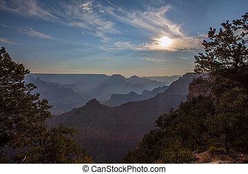 夜明け, 峡谷, 壮大