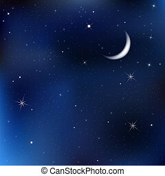 夜晚天空, 带, 月亮和星