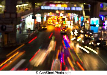 夜晚, 光, ......的, 城市