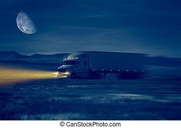 夜晚, 卡車, 驅動