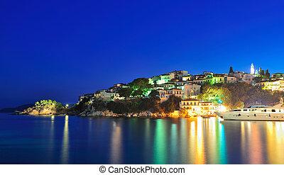 夜晚, 圖像, 從, the, 島, ......的, skiathos, 希臘