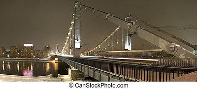 夜晚, 城市, 橋梁, 全景