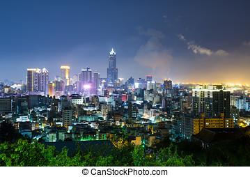 夜晚, 察看, 在中, 城市, 在中, 台湾, -, kaohsiung