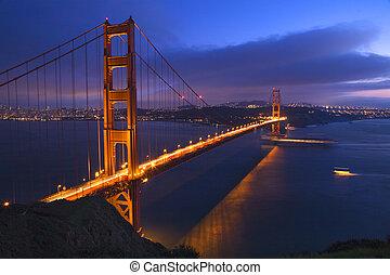 夜晚, 小船, san, 門, 黃金, 橋梁, francisco, 加利福尼亞