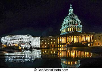 夜晚, 我們, 代表, 房子, 華盛頓, 星, 反映, dc, 州議會大廈
