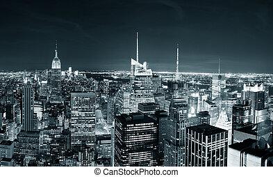 夜晚, 曼哈頓地平線, 城市, 約克, 新
