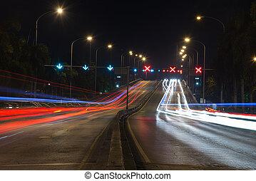 夜晚, 現代, 交通, 城市, 形跡, 光
