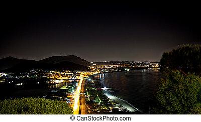 夜晚, 看法, ......的, baia, 海灣, pozzuoli, 近, 那不勒斯, italy