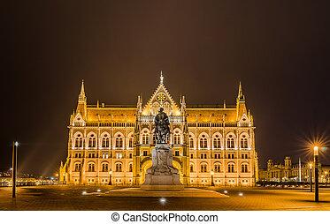 夜晚, 看法, ......的, the, 匈牙利人, 議會建築物, 在, 布達佩斯, hungary.