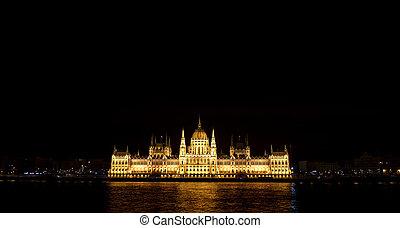 夜晚, 看法, ......的, the, 匈牙利人, 議會, 在, 布達佩斯, hungary.