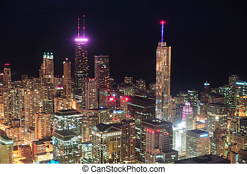 夜晚, 空中, 芝加哥, 看法