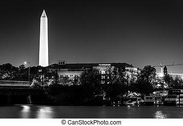 夜晚, 紀念碑, 華盛頓, dc., 華盛頓
