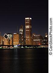 夜晚, 芝加哥, 城市光, 密執安