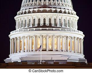 夜晚, 華盛頓特區, 我們, 圓屋頂, 人物面部影像逼真, 首都