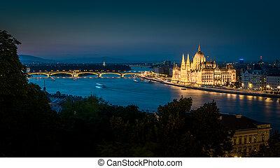 夜晚, 議會, 在, 布達佩斯