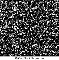 夜晚, 黑色的背景, seamless, 城市, doodles, pattern., 白色