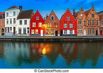 夜晚, bruges, 運河, 由于, 美麗, 上色, 房子