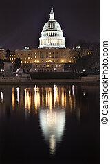 夜晚, dc, 華盛頓 國會大廈, 我們, 反映