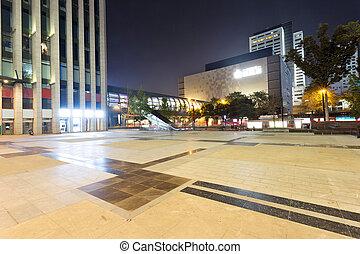 夜現場, の, 現代, 都市, 広場