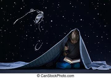 夜的, 閱讀, 由于, 火炬