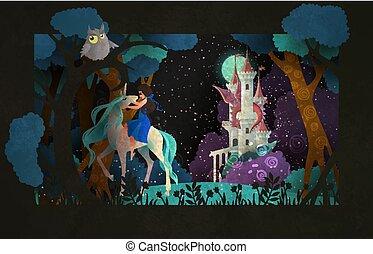 夜空, 一角獣, 前部, 乗馬, 女の子, 城