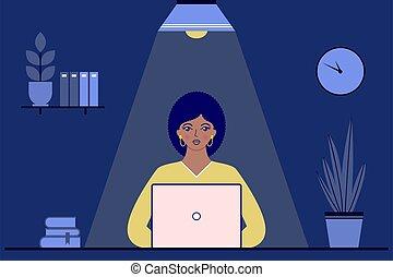 夜, オフィス, 女性実業家