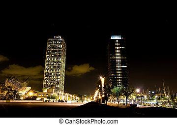 夜, オリンピック, バルセロナ, 港