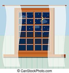 夜, カーテン, 木製である, 窓の眺め, 漫画, 星, 田園, 三日月, style., 森林, 空, フレーム, 部屋, 雲