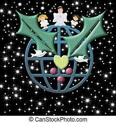 夜, カード, 心, シンボル, 星が多い, 地球, 平和, クリスマス, 天使, 子供, 微笑, 鳩, 西洋ヒイラギ
