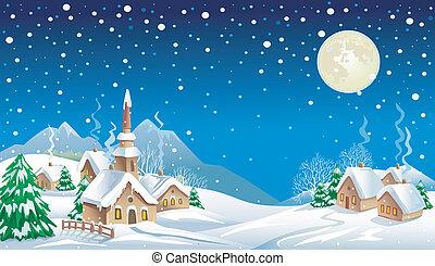 夜, クリスマス, 村