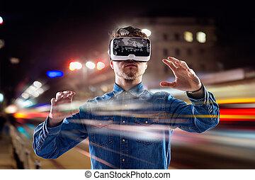 夜, ゴーグル, 事実上, 身に着けていること, さらされること, ダブル, 都市, 人, 現実