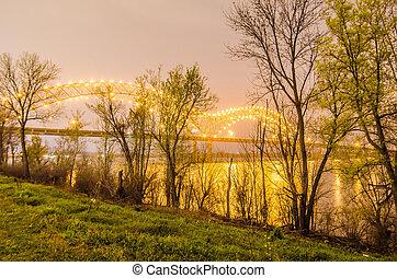 夜, テネシー州, soto, -, メンフィス, 橋, hernando, de