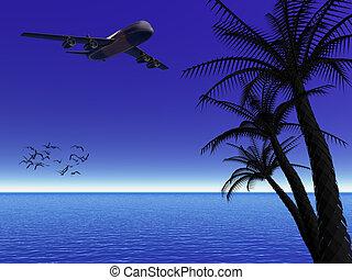 夜, トロピカル, 月, 飛行機。